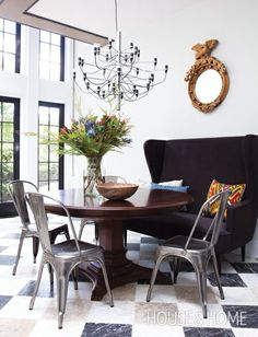 I like the contrast between the metal chairs and the wood table.