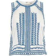 Cream Embroidered Sleeveless Tank Top from River Island River Island Outfit, California Cool, Going Out Tops, Boho Tops, Summer Tops, Everyday Fashion, Athletic Tank Tops, Mens Tops, Cream