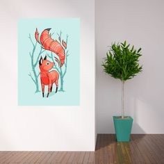 Anime Fox Wall Sticker Decal – Winter Fox by Indre Bankauskaite