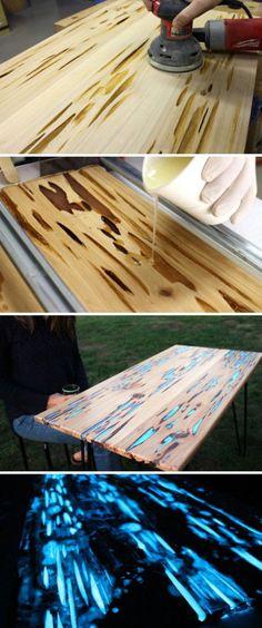 Lichtgevend hout, een leuk idee voor een tafelblad, kast, kastdeuren, etc. Opladen met daglicht. Voor meer info zie site Instructables en zoek op Glow table.