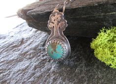 Kingman Turquoise Stone Featuring a Sterling Silver California Sequoia Tree Necklace. Natural Turquoise Stone. OOAK Woodland Jewelry. by QuietTimeJewelry on Etsy