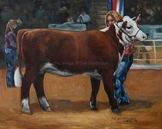 Cow Cattle Heifer Hereford art print 8x10 by Sue Deutscher on Etsy, $9.99 - the original oil painting is at http://suedeutscher.com
