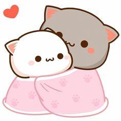 Tag your Blanket! Check my Story to Screenshot this for wallpaper. Cute Anime Cat, Cute Bunny Cartoon, Cute Kawaii Animals, Cute Couple Cartoon, Cute Cartoon Pictures, Cute Love Pictures, Cute Love Cartoons, Cute Cat Gif, Beautiful Pictures