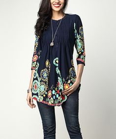 Take a look at this Navy Garden Notch Neck Pin Tuck Tunic today!