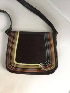 Vintage Purse Handbag Shoulder Bag Leather Stripes 70s 80s Flap Crossbody | eBay