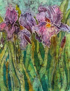 Linda Virio   WATERCOLOR BATIK Variation on Iris #3