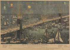 Birds-Eye View of the Great New York and Brooklyn Bridge and Fireworks on the Opening Night. 1883.