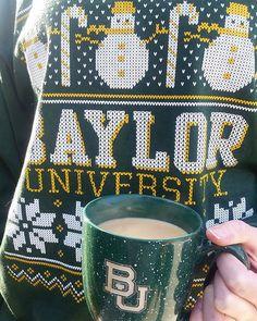 Baylor mug + Baylor Christmas sweater. #SicEm