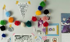 Decora con Pompones Diy And Crafts, Arts And Crafts, Pom Pom Crafts, Craft Desk, Pom Pom Garland, Diy Wall Decor, Craft Gifts, Handicraft, Decoration