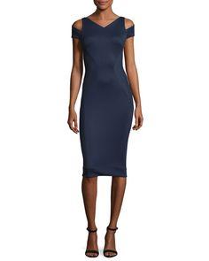 Cold-Shoulder V-Neck Sheath Dress, Navy