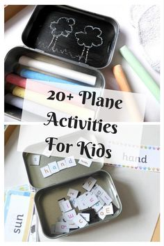 Over 20 activities for kids to be used on a plane, camping, holidays and for busy bags ideas for preschoolers or older children.