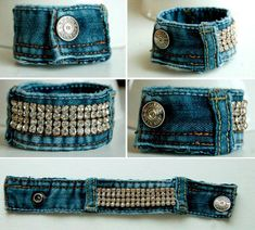 74 Awesome DIY ideas to recycle old jeans - DIY Recycling Bracelet Denim, Cuff Bracelets, Fabric Bracelets, Diy Jeans, Jean Crafts, Denim Crafts, Denim Armband, Artisanats Denim, Denim Purse
