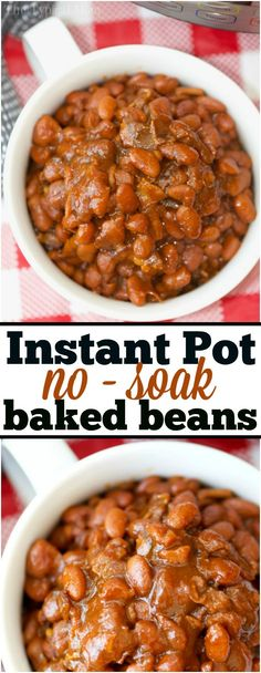 The most amazing no soak Instant Pot baked beans you'll ever eat! Perfectly cooked in your pressure cooker they're a great side dish for any barbecue. via @thetypicalmom #instantpot #pressurecooker #bakedbeans