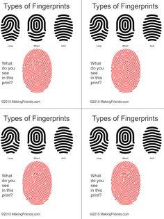 Junior Detective Badge Fingerprint Types free printable