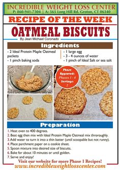 Ideal Protein Oatmeal Biscuits Delicious, easy to make and a great unrestricted… Protein Desserts, Protein Diets, Protein Recipes, Protein Snacks, No Carb Recipes, Cooking Recipes, Diet Recipes, Dessert Recipes, Cakepops