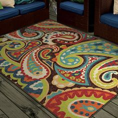 """Aria Collection Gomaz Multi Olefin Area Rug (6'6"""" x 10') - Overstock Shopping - Great Deals on Carolina Weavers 7x9 - 10x14 Rugs"""