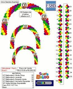 Projetos Arco Balloon Gate, Balloon Arch Diy, Balloon Columns, Balloon Garland, Ballon Arch, Birthday Balloon Decorations, Birthday Balloons, Baby Shower Decorations, Engagement Balloons