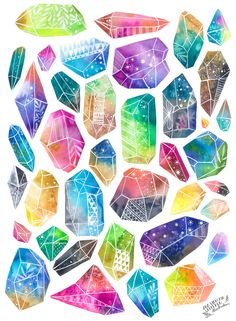 Healing Crystals print by anavicky on Etsy