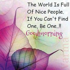 The world is full of nice people. If you can't find one, be one…!! Good morning.