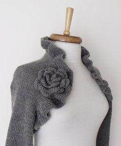 Grey Wedding Wool Shrug long sleeves With Flower by knittingshop