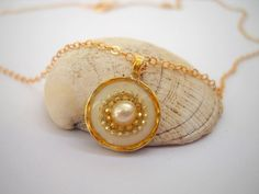 Pearl pendant, Gold White Sterling silver necklace, Gold White pendant necklace, Gold filled chain, Golden pendant inlaid with a pearl on Etsy, $47.00