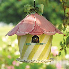 Pink and Green Bird house