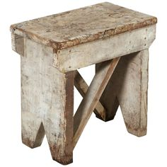 A fantastic well built, heavy and distinctively designed American stool/side table with great patina and original paint.Measures: L D H Primitive Furniture, Handmade Furniture, Rustic Furniture, Furniture Projects, Furniture Plans, Diy Furniture, Barn Wood Projects, Space Furniture, Rustic Stools