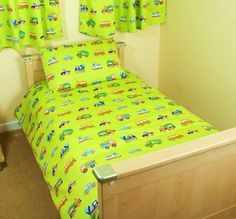 Transport, Cars Diggers and Tractors Junior Duvet - Green - http://www.childrens-rooms.co.uk/transport-cars-diggers-and-tractors-junior-duvet-green.html #toddlerbedding #juniorbedset #transport #trucks #lorry