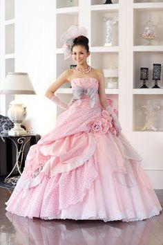 Straight out of a dream!!!! Moe Oshikiri in A Liliale elegant Pink Wedding Dress
