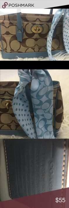 Authentic coach purse with periwinkle blue trim Authentic coach purse with periwinkle blue handles and gorgeous matching sash Bags