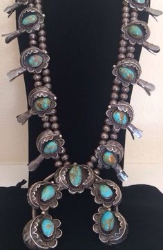 """HEAVY NAVAJO 7.45 OZ. (27"""") ROYSTON TURQUOISE & STERLING SQUASH BLOSSOM NECKLACE"""