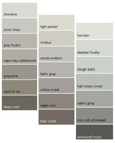 Benjamin Moore Grays - love this for master bedroom and bath and living room off of blue wall from kitchen/dining area