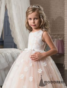 ee7caf5a0719 Cute Flower Girl Dresses Scoop Ball Gowns Applique Tulle Princess Pageant  Dresses Birthday Party Dress