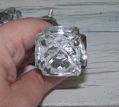 1Diamond Cut Clear Glass KnobDrawer PullVintage by ShabbrusticChic, $6.25