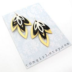 Hand Cut Gold Black and Silver Leather Earrings by tomgirl on Etsy, $38.00