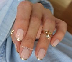 Nude pink and gold French tips