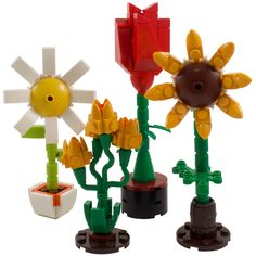 Flowers - Collection of four – One More Brick Harry Potter Diagon Alley, Lego Harry Potter, Lego Flower, Lego City Cargo Train, Lego Tree, Flower Model, Lego Technic, Lego Movie, Lego Brick