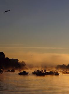 Foggy Sunrise on River Nivelle to Ciboure, Aquitaine_ West France
