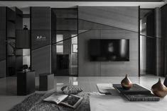 Find out all photos and details of 台中 【呢 喃】 on Archilovers. Browse the complete collection of pictures and design drawings Tv Feature Wall, Feature Wall Design, Tv Wall Design, House Design, Living Room Modern, Living Room Interior, Home Living Room, Living Room Designs, Condo Interior