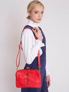 Dahlia Roskilde Red Oblong Concertina Bag with Bobble Clasp