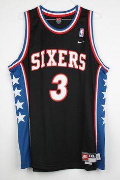 Allen Iverson Philadelphia 76ers NIKE Black Red Blue White Jersey XXL + 2 SEWN #Nike #Philadelphia76ers
