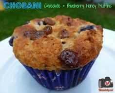 @Chobani Chocolate & Blueberry Honey Muffins from mamabelly.com