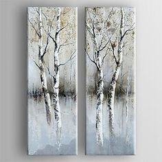 Oil Painting Modern Abstract  Set of 2 Hand Painted Canvas with Stretched Framed – USD $ 120.79