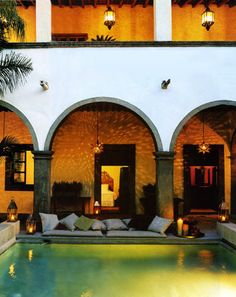 Wouldn't this be a beautiful courtyard? Pool, hot tub, fire pit, and gardens.