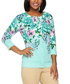 Loving this Turquoise Floral Button-Up Cardigan on #zulily! #zulilyfinds