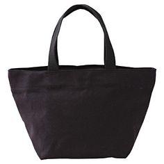 "Cotton Zippered Tote Bag S in Black, 8""x14""x6.8"", $15   MUJI"