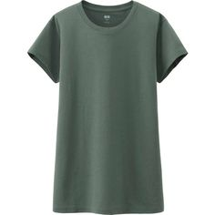 UNIQLO Women Supima Cotton Washed Crew Neck Short Sleeve T-Shirt ($5.90) ❤ liked on Polyvore featuring tops, t-shirts, green, crewneck tee, green tee, cotton tee, uniqlo and crew neck tee