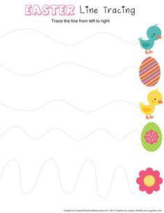 Happy Easter Worksheet for Kids - Preschool and Kindergarten Easter Activities For Preschool, April Preschool, Preschool Writing, Spring Activities, Travel Activities, Easter Worksheets, Worksheets For Kids, Easter Art, Pre Writing