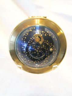 VINTAGE-Blue-Enamel-Celestial-Kigu-Flying-Saucer-Musical-Compact-w-silky-pouch