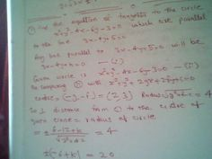 Maths: equation of tangent to the circle which are parall...
